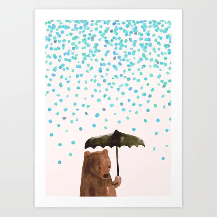 Sunday's Society6 | Bear with umbrella in the rain art print
