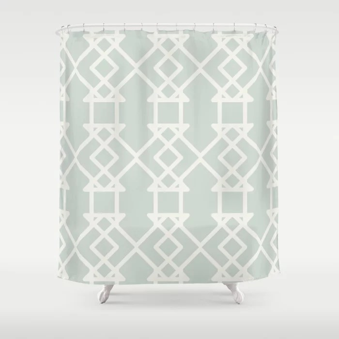 Mint Green and Cream Tessellation Pattern 27 Behr 2022 Color of the Year Breezeway MQ3-21 Shower Curtain. 2022 color trend