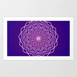 Purple and White Spiral Mandala Art Print