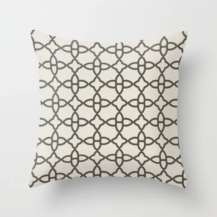 Brown and Cream Minimal Line Art Pattern 4 2021 Color of the Year Urbane Bronze and Shoji White Throw Pillow