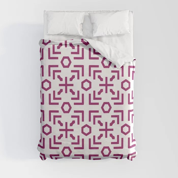 Magenta and White Art Deco Abstract Pattern - Colour of the Year 2022 Orchid Flower 150-38-31 Duvet Cover - color for 2022