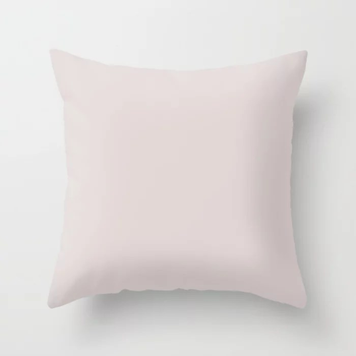 Off White Hint of Lilac Solid Color Parable Farrow and Ball Great White 2006 Throw Pillow