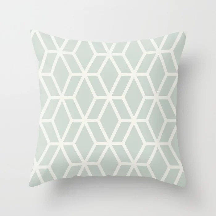 Mint Green and Cream Tessellation Pattern 16 Behr 2022 Color of the Year Breezeway MQ3-21 Throw Pillow. 2022 color scheme, trending interior design hue.