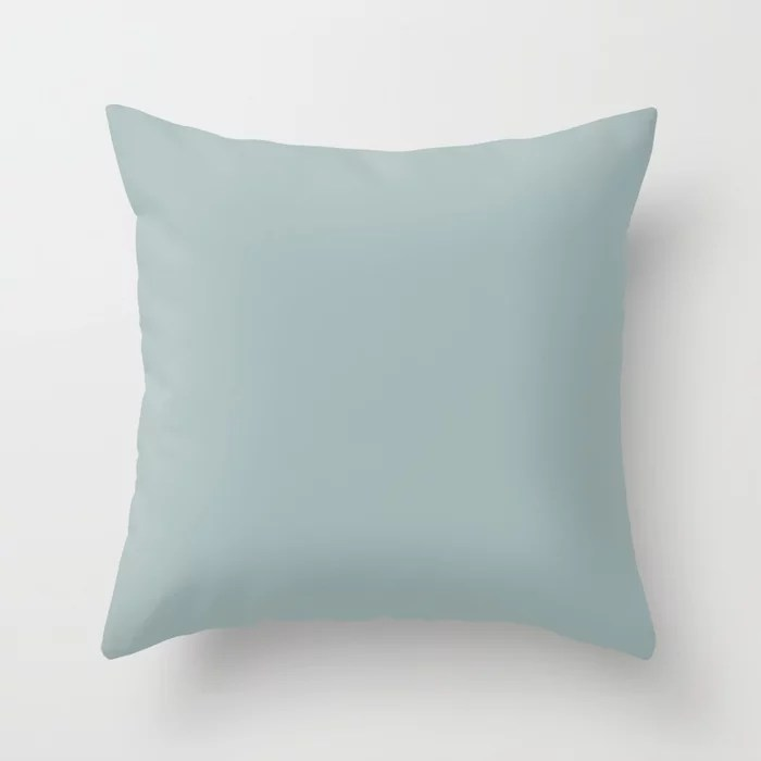 Muted Teal Blue Trending Solid Color Throw Pillows inspired by and pairs to (matches / coordinates with) Dutch Boy 2021 Color of the Year Accent Hue Grayed Aqua 428-4DB