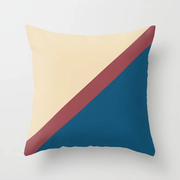 Red Beige Blue Minimal Thin Angled Line Pattern 2021 Color of the Year Passionate and Accent Shades Throw Pillow