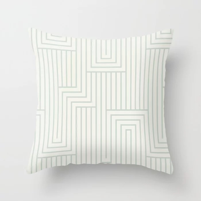 Pastel Green and Cream Art Deco Pattern 2 Pairs Behr 2022 Color of the Year Breezeway MQ3-21 Throw Pillow. 2022 color scheme, trending interior design hue.