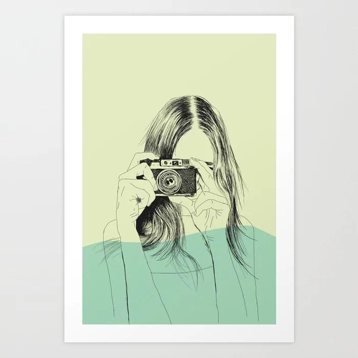 Sunday's Society6 | Color block drawing woman photo art print