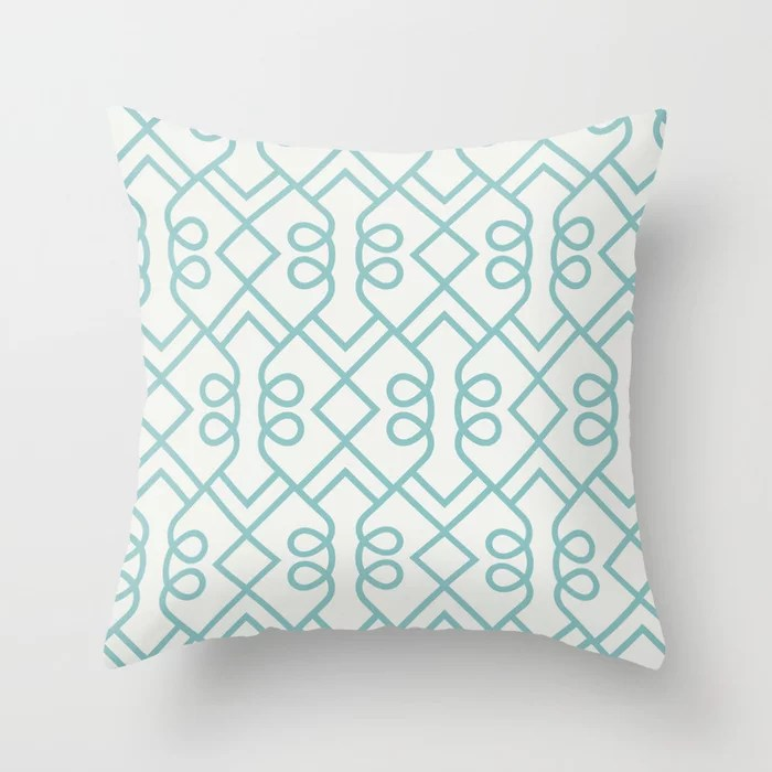 Aqua and White Minimal Diamond Loop Pattern Color of the Year Aqua Fiesta and Delicate White Throw Pillow