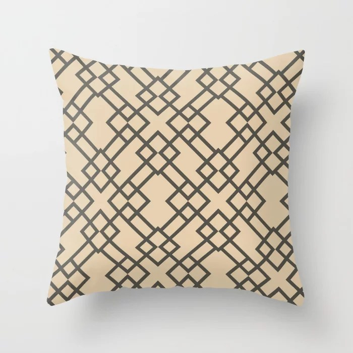 Brown and Tan Minimal Line Art Pattern 2021 Color of the Year Urbane Bronze and Ivoire Throw Pillow