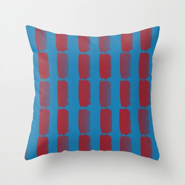 Red and Blue Grid Brushstroke Pattern 2021 Color of the Year Satin Paprika and Satin Lagoon Throw Pillow