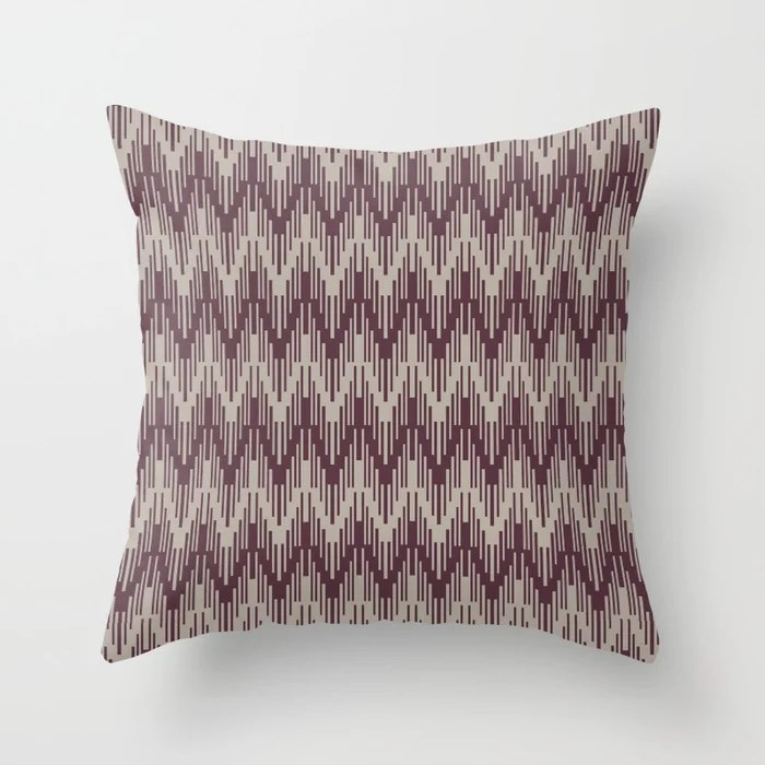 Deep Purple Gray Taupe Chevron Stripe Pattern Throw Pillows inspired by and pairs to (matches / coordinates with) Graham and Brown 2021 Color of the Year Epoch and Fondue