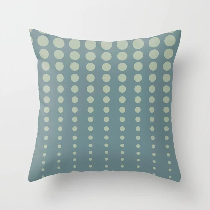 Tropical Blue-Green Reduced Polka Dot Pattern 2021 Color of the Year Aegean Teal Salisbury green Throw Pillow