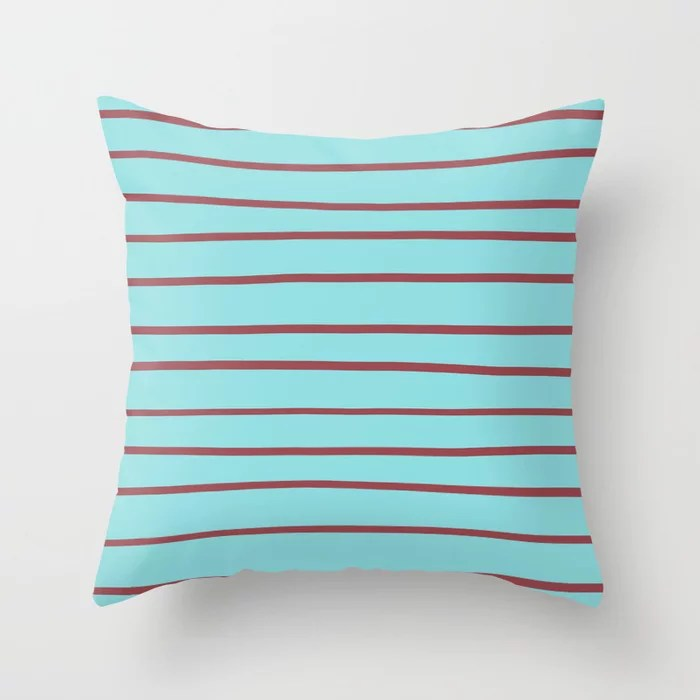 Red Pastel Blue Horizontal Stripe Pattern 2021 Color of the Year Passionate and Breezy Aqua Throw Pillow