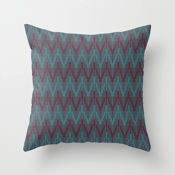 Deep Purple Aqua Chevron Stripe Pattern Throw Pillows inspired by and pairs to (matches / coordinates with) Graham and Brown 2021 Color of the Year Epoch and Whale Tail