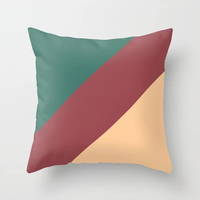Red Green Peach Abstract Line Pattern Pairs HGTV 2021 Color of the Year Passionate Throw Pillow