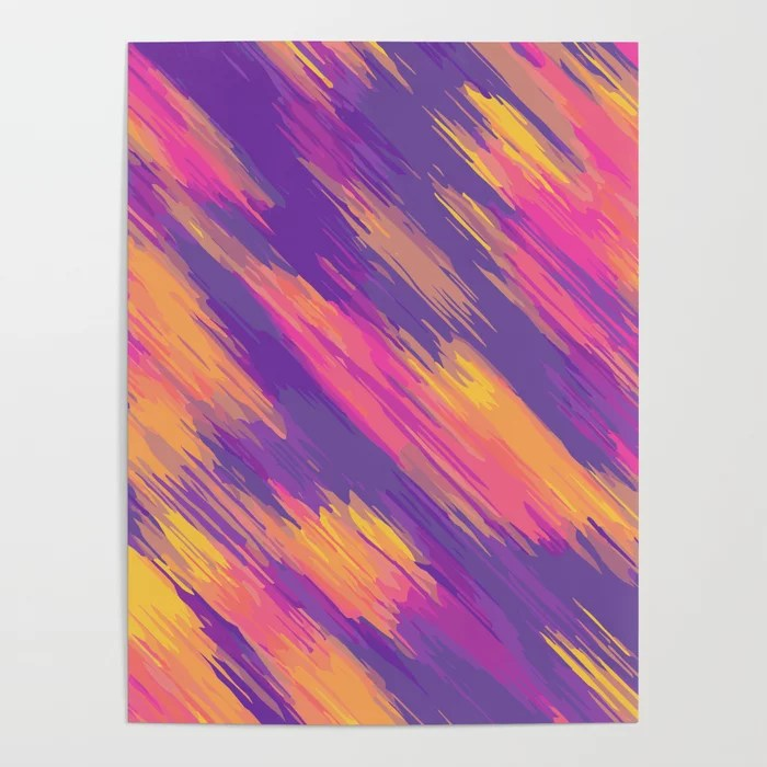 Pink Blue Yellow Orange Drawing And Painting Abstract Background Poster By Timla Society6