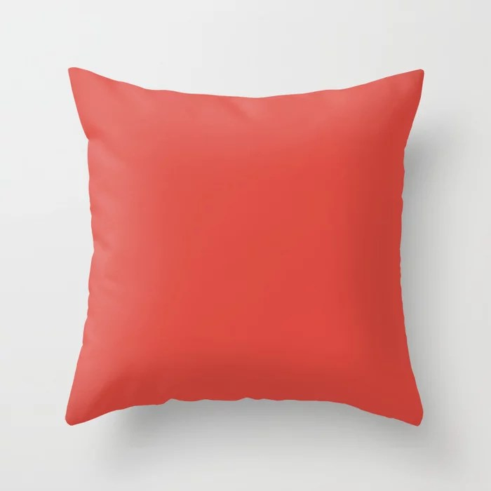 Bold Red Solid Color Pairs Coloro 2021 Color Of The Year Suggested Accent Shade Oxy Fire Throw Pillow