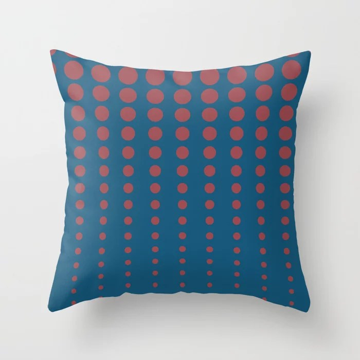Red Dark Blue Reduced Polka Dot Pattern 2021 Color of the Year Passionate and Long Horizon Throw Pillow