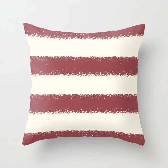Red and Off White Minimal Stripe Pattern Pairs HGTV 2021 Color of the Year Passionate Throw Pillow