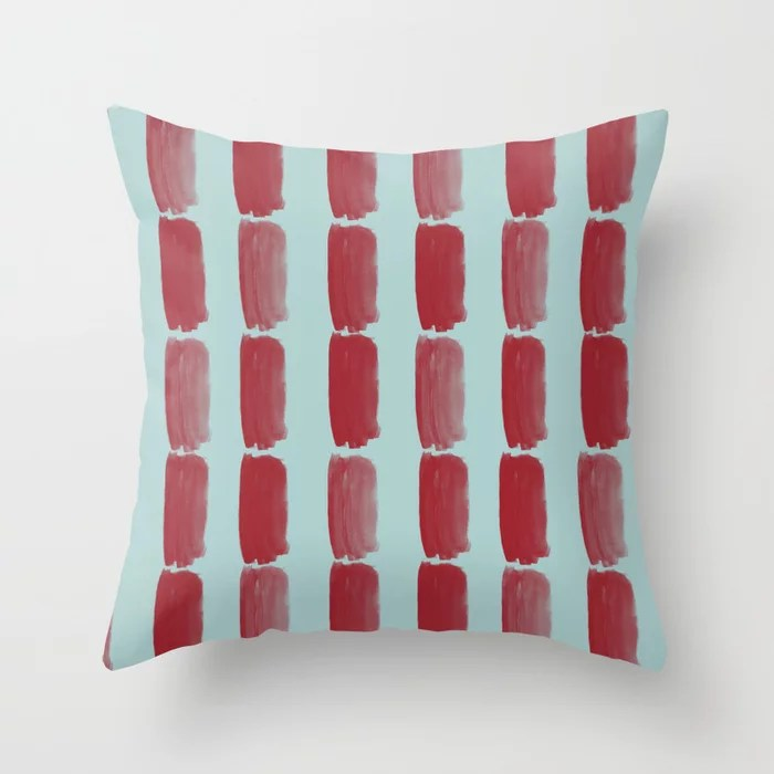 Red and Pastel Blue Grid Brushstroke Pattern 2021 Color of the Year Satin Paprika Serenity Blue Throw Pillow