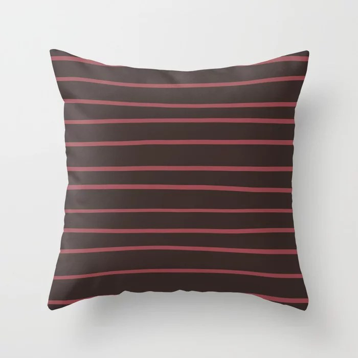 Red and Brown Horizontal Stripe Pattern 2021 Color of the Year Passionate and Dark Bronzetone Throw Pillow