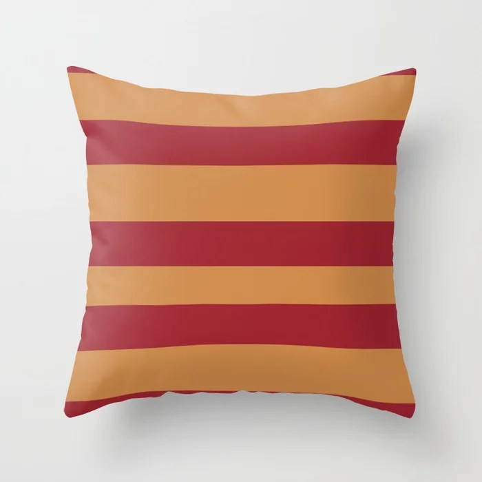 Red Orange Brown Wide Stripe Pattern 2021 Color of the Year Satin Paprika and Satin Warm Caramel Throw Pillow