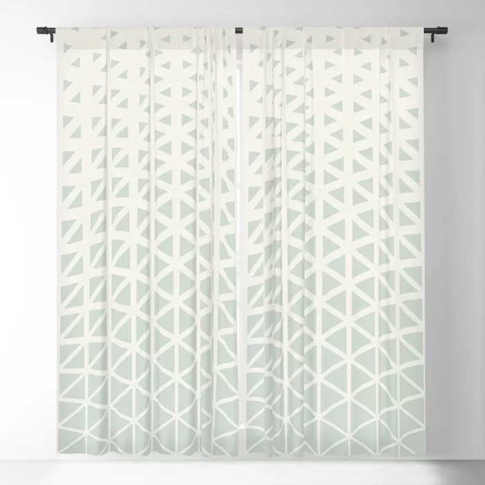 Pastel Green and Cream Gradient Wave Pattern Pairs Behr 2022 Color of the Year Breezeway MQ3-21 Blackout Curtain. Colors popular 2022