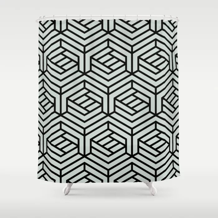 Pastel Green and Black Geometric Shape Pattern Behr 2022 Color of the Year Breezeway MQ3-21 Shower Curtain. 2022 color trend
