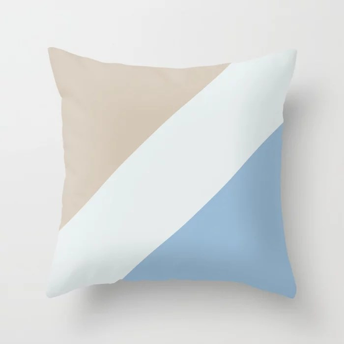 Pastel Blue White Beige Diagonal Stripe Pattern Throw Pillows inspired by and pairs to (matches / coordinates with) Dutch Boy 2021 Color of the Year Earth's Harmony & Accent Hues