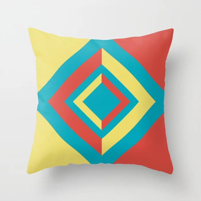 Aqua Yellow Red Diamond Minimal Illustration 2021 Color of the Year AI Aqua and Accent Shades Throw Pillow