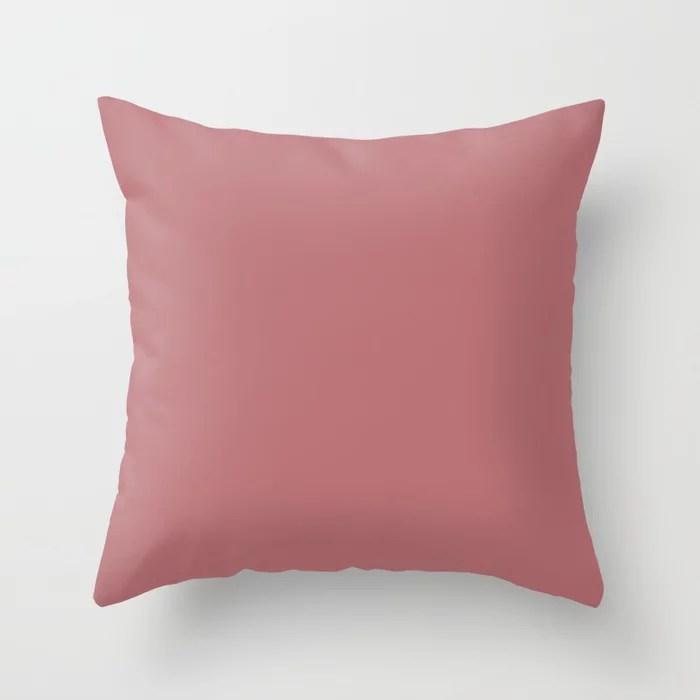 Thulian Dark Pastel Pink Solid Color Coordinates w/ Sherwin Williams Rita's Rouge SW 9003 Throw Pillow