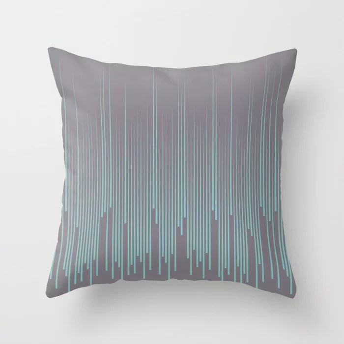 Pastel Aqua and Purple Frequency Line Art Pattern 2021 Color of the Year Aqua Fiesta and Magic Dust Throw Pillow