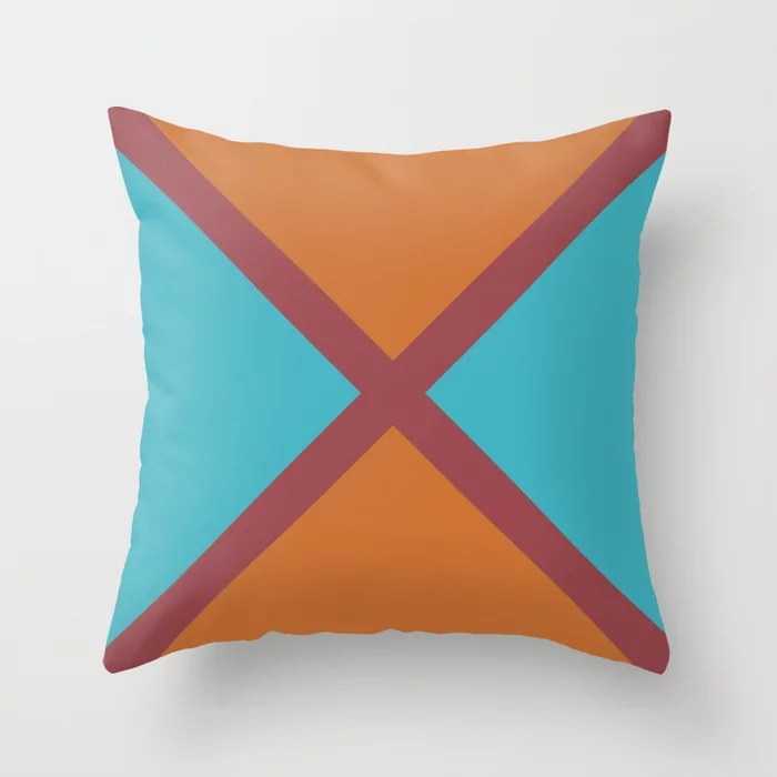 Red Orange Aqua Minimal Line Pattern Pairs HGTV 2021 Color of the Year Passionate Throw Pillow
