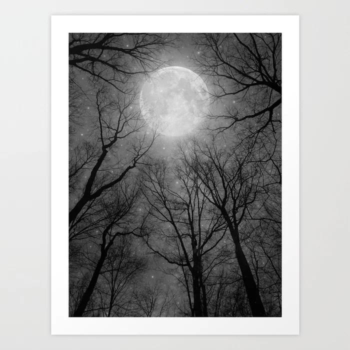Sunday's Society6 | Dark forest moon art print