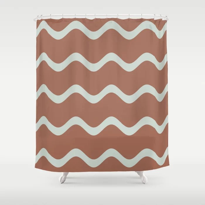 Mint Green and Terracotta Line - Stripe Pattern Behr 2022 Color of the Year Breezeway MQ3-21 Shower Curtain. 2022 color trend