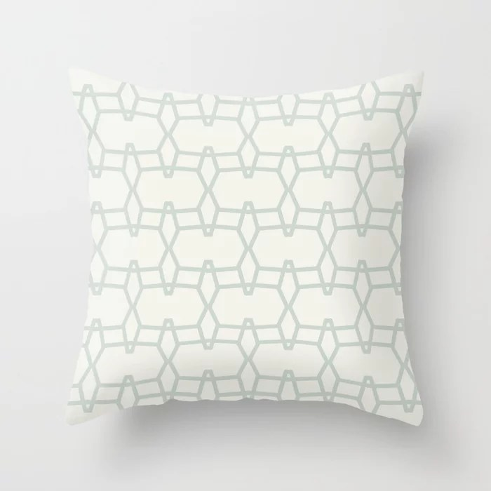 Mint Green and Cream Tessellation Line Pattern 9 Behr 2022 Color of the Year Breezeway MQ3-21 Throw Pillow. 2022 color scheme, trending interior design hue.