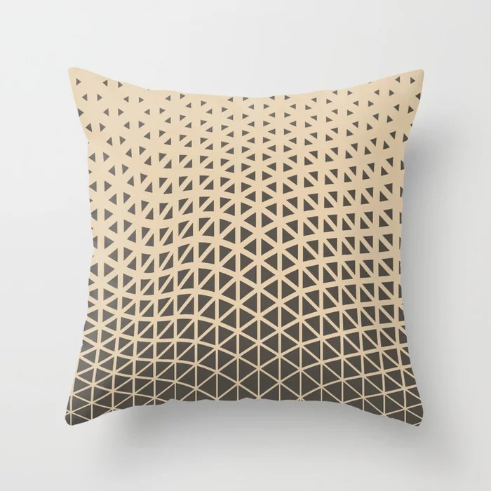 Brown and Tan Geometric Wave Pattern Throw Pillows Match and coordinate with Sherwin Williams Paints 2021 Color of the Year Urbane Bronze and Ivoire