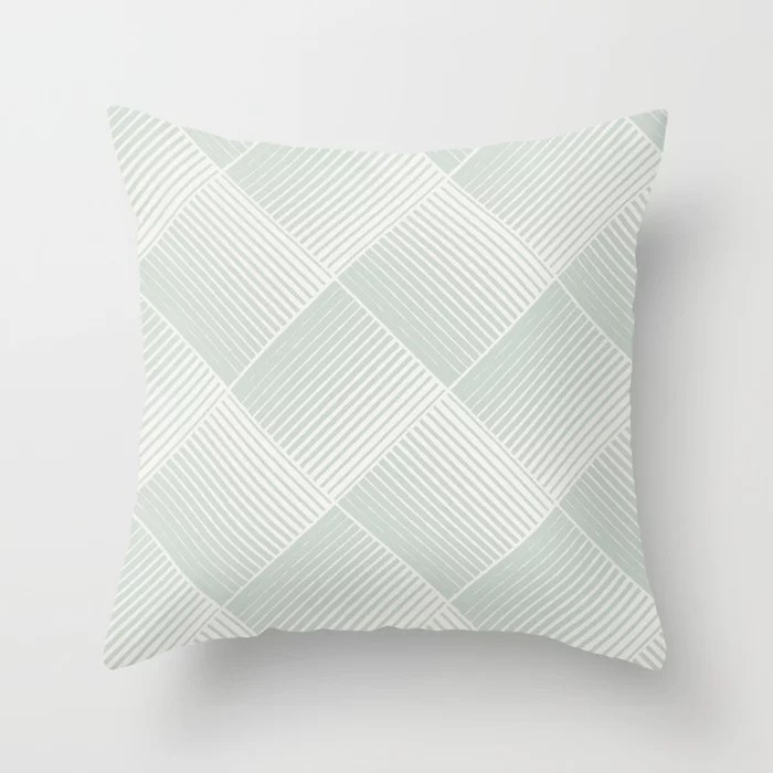Mint Green and Cream Mosaic Stripe Pattern Behr 2022 Color of the Year Breezeway MQ3-21 Throw Pillow. 2022 color scheme, trending interior design hue.