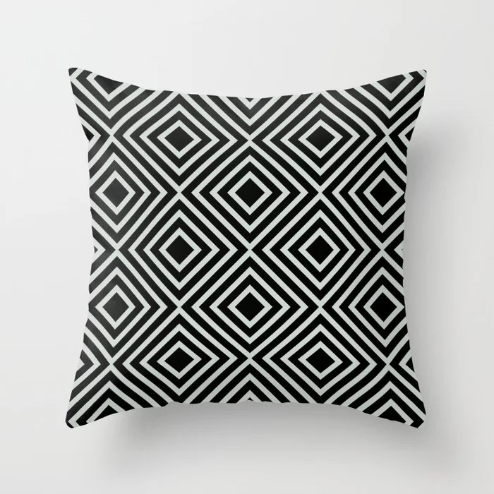 Pastel Green and Black Square Line Art Pattern Throw Pillow Pairs Behr 2022 Color of the Year Breezeway MQ3-21 Throw Pillow . 2022 color scheme, trending interior design hue.