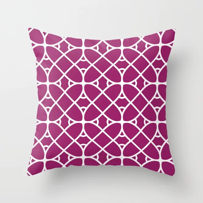Magenta and White Oval Shape Pattern - Colour of the Year 2022 Orchid Flower 150-38-31 Throw Pillow