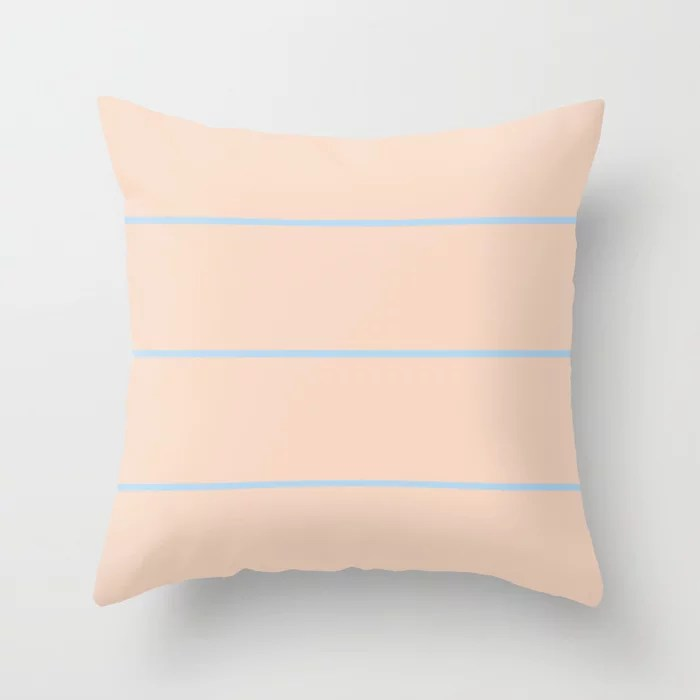 Baby Blue Peach Horizontal Thin Stripe Pattern 2021 Color of the Year Wild Blue Yonder Natural Tan Throw Pillow