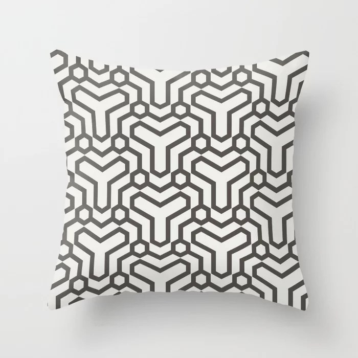 Brown and White Line Art Pattern 5 Shapes 2021 Color of the Year Urbane Bronze and Extra White Throw Pillow