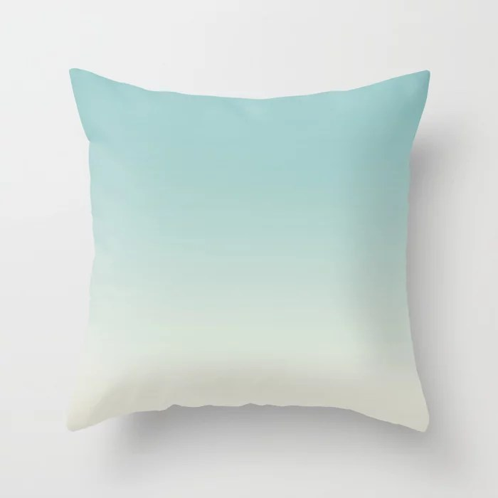 Pastel Teal and Cream Gradient Ombre Blend 2021 Color of the Year Aqua Fiesta and Horseradish Throw Pillow