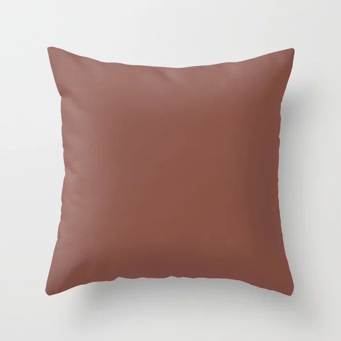 Dark Reddish Brown Solid Color Pairs To Behr 2021 Color of the Year Accent Shade Spice PPU2-18 Throw Pillow