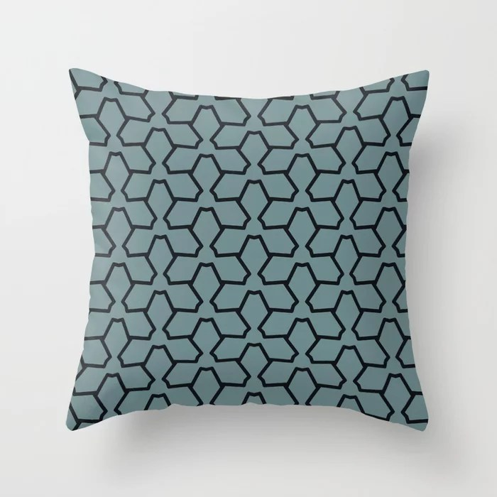 Blue-Green Black Line Pattern 12 Abstract Flower 2021 Color of the Year Aegean Teal and Jet Black Throw Pillow