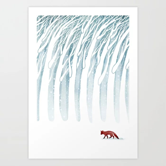Sunday's Society6 | Winter storm fox in winter wonderland watercolor art print