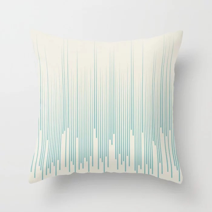 Aqua and Cream Frequency Line Art Pattern 2021 Color of the Year Aqua Fiesta and Horseradish Throw Pillow