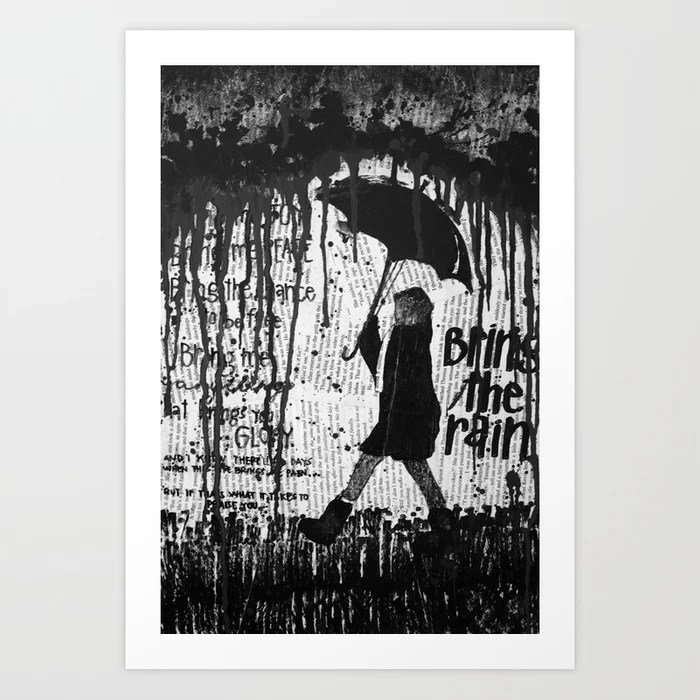 Sunday's Society6 | Black and white rain art print