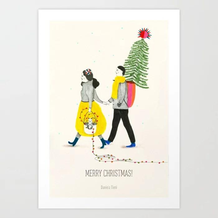 Sunday's Society6 | Christmas tree, merry Christmas art print