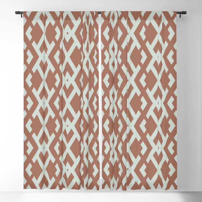 Pastel Green and Clay Vertical Zig Zag Pattern Pairs Behr 2022 Color of the Year Breezeway MQ3-21 Blackout Curtain. Decorating colors for 2022
